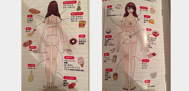 食べ物によって太る部位が違う!全身マップ