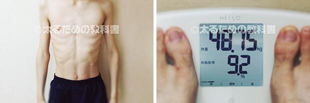 体型の図(体重48.75kg)