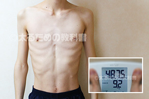 もやし野郎のガリガリの体=体重48.75kg